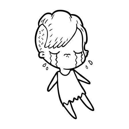 Hand drawn cartoon crying girl