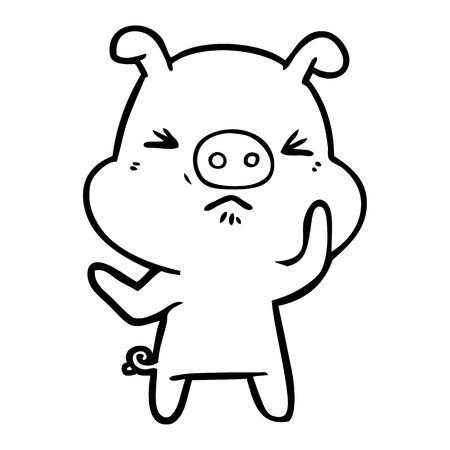 Hand drawn cartoon angry pig Çizim