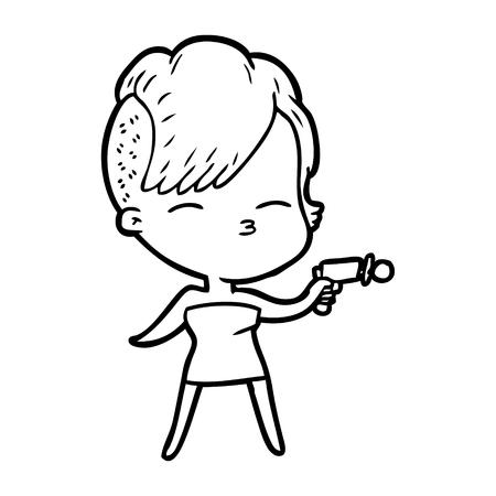 Hand drawn cartoon squinting girl pointing ray gun