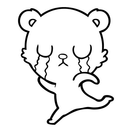 Hand drawn crying cartoon bear running away Stockfoto - 95764162