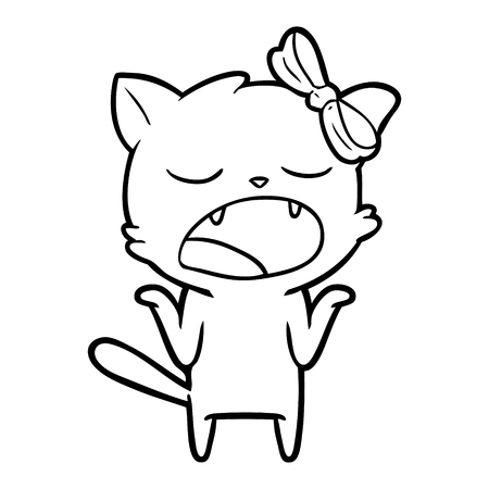 Hand drawn cartoon yawning cat shrugging shoulders