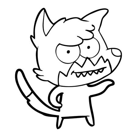 Hand drawn cartoon grinning fox Stock fotó - 95764338