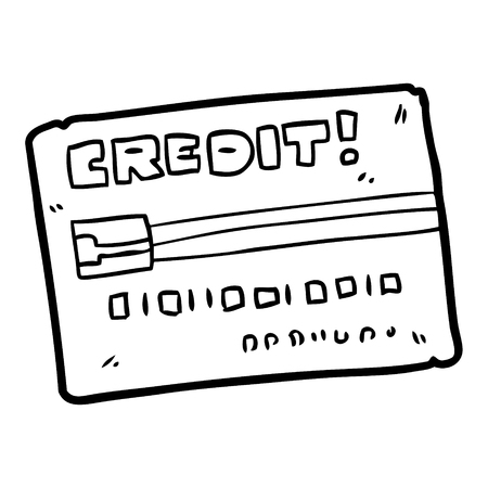 Hand drawn cartoon credit card Illustration