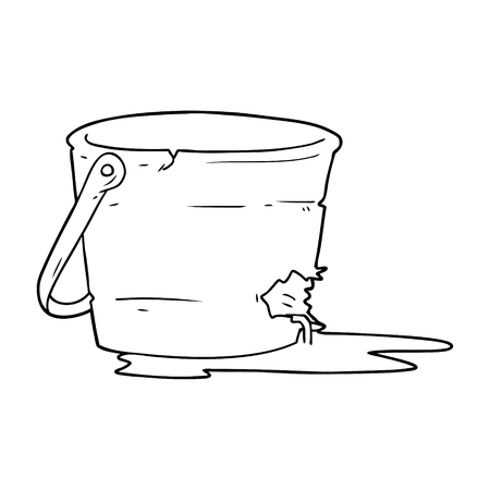 Hand drawn broken bucket cartoon