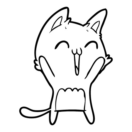 Hand drawn happy cartoon cat meowing