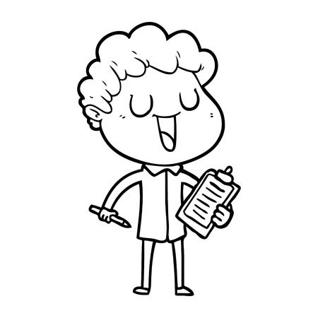 Hand drawn laughing cartoon man with clipboard and pen