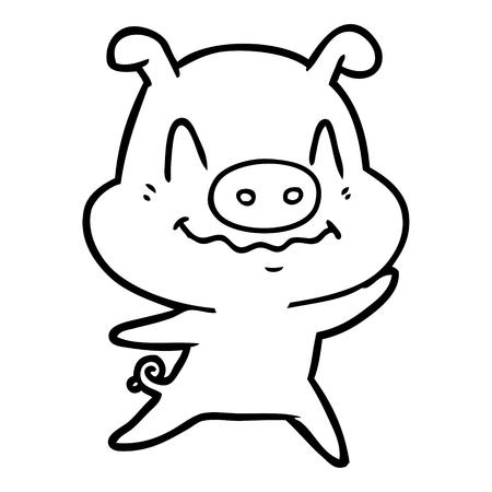 Hand drawn nervous cartoon pig Ilustrace