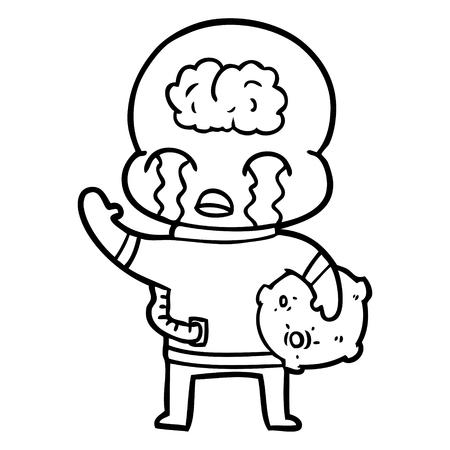 Hand getekend cartoon grote hersenen alien huilen en vaarwel zwaaien Stock Illustratie
