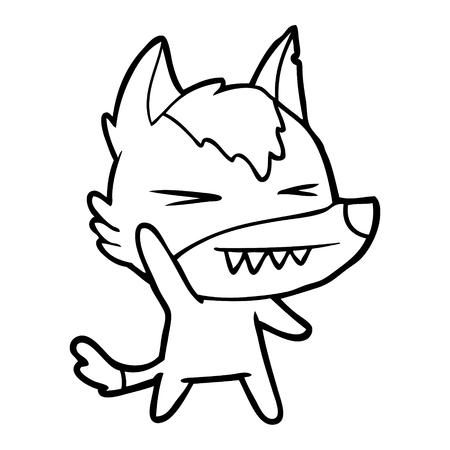 Hand drawn angry wolf cartoon