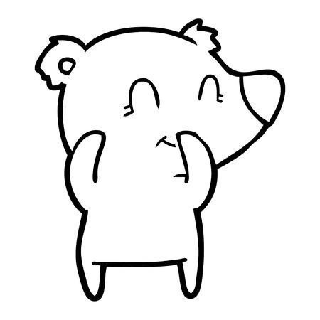 Hand drawn giggling polar bear cartoon Illustration