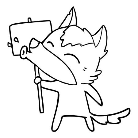 howling wolf cartoon Ilustração