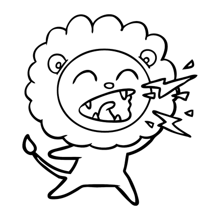 Hand drawn cartoon roaring lion Banque d'images - 95764677