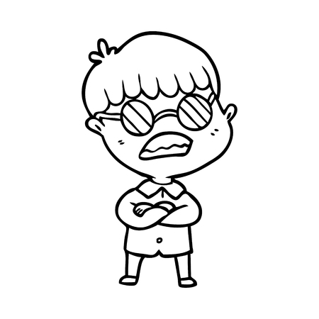 Hand drawn cartoon boy with crossed arms wearing spectacles
