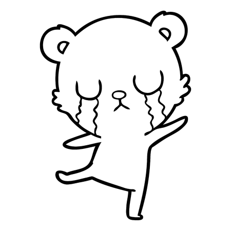 Hand drawn crying cartoon bear doing a sad dance
