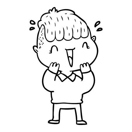 手描き漫画幸せな少年は驚いた