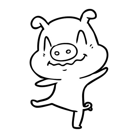 漫画酔っぱらい豚ベクトルイラスト。