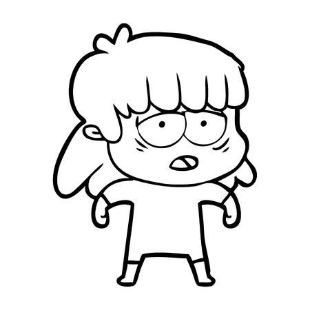 Hand drawn cartoon tired woman