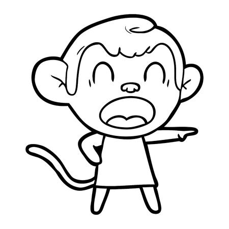 Hand drawn shouting cartoon monkey pointing Illusztráció