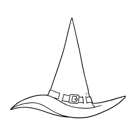 Hand drawn cartoon witch hat