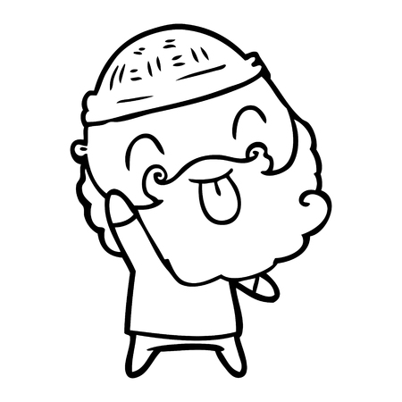 Hand drawn man with beard sticking out tongue Illustration