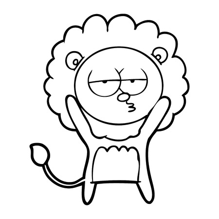 Hand drawn cartoon bored lion Ilustrace