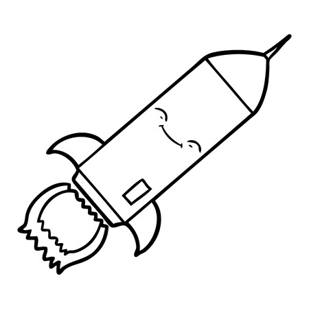 Hand drawn cartoon rocket Illusztráció