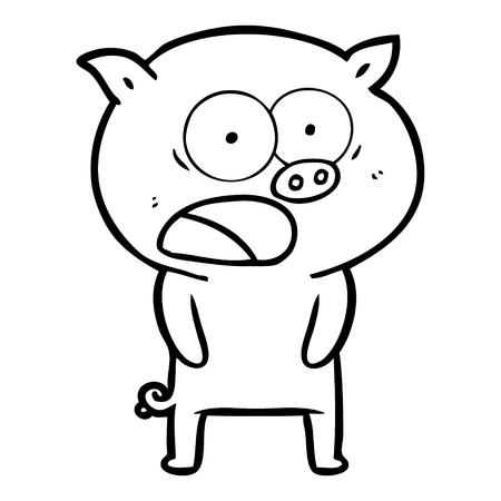 Hand drawn cartoon pig shouting Illusztráció