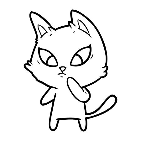 confused cartoon cat Vector illustration.