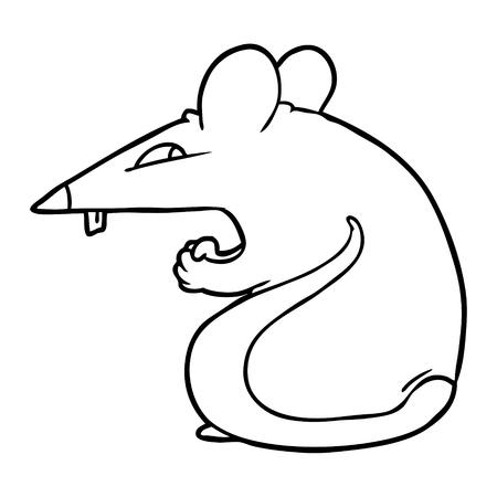 Hand drawn sly cartoon rat Illustration