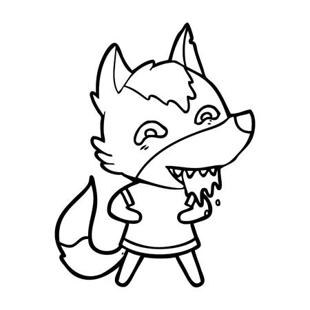 Hand drawn cartoon hungry wolf
