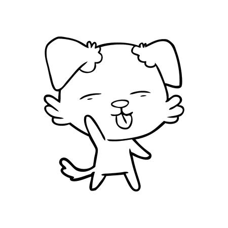 Hand drawn cartoon dog sticking out tongue