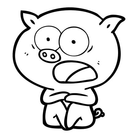 Hand drawn shocked cartoon pig sitting down
