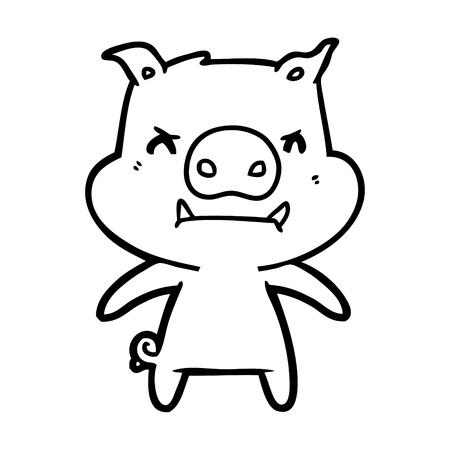 angry cartoon pig Vector illustration.