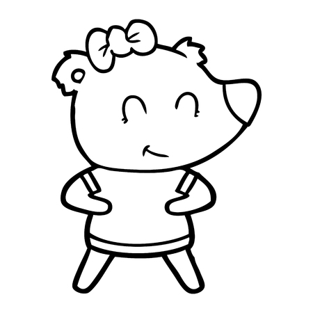 Hand drawn female bear cartoon Archivio Fotografico - 95765262