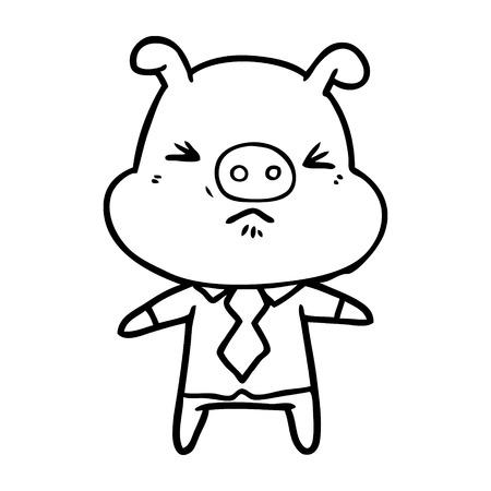 cartoon angry pig in shirt and tie Vector illustration. Ilustração