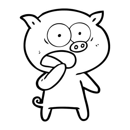 衝撃を受けた豚漫画ベクターイラスト。  イラスト・ベクター素材