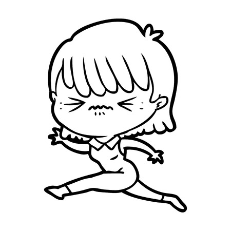Hand drawn cartoon woman jumping