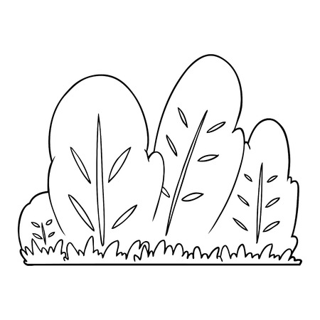 Hand drawn cartoon hedge