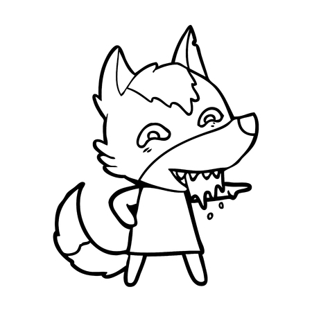 Hand drawn cartoon hungry wolf