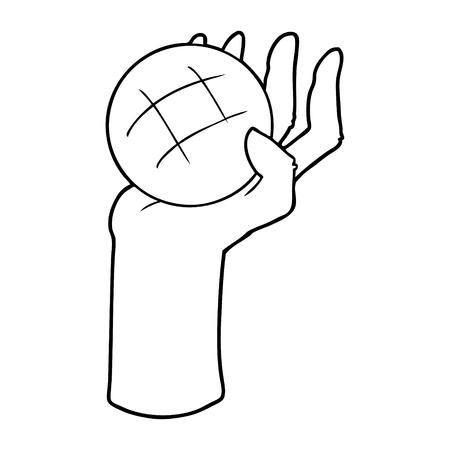 手描き漫画の手投げボール