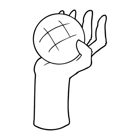 Hand drawn cartoon hand throwing ball Ilustrace