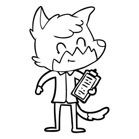 cartoon happy fox salesman Vector illustration.
