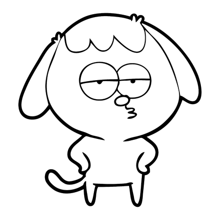 Hand drawn cartoon bored dog Illusztráció