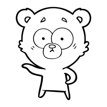 An anxious bear cartoon isolated on white background. Stock Illustratie