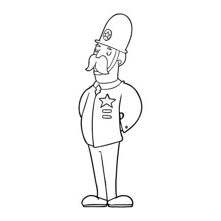 漫画の警官ベクトルイラスト。  イラスト・ベクター素材