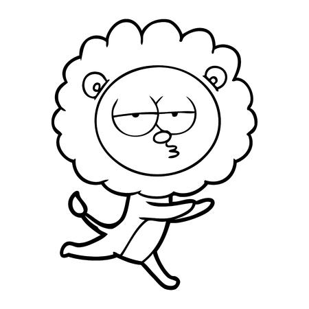 cartoon running lion Vector illustration.