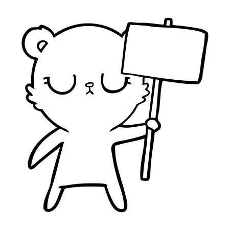 peaceful cartoon bear cub with protest sign Ilustração