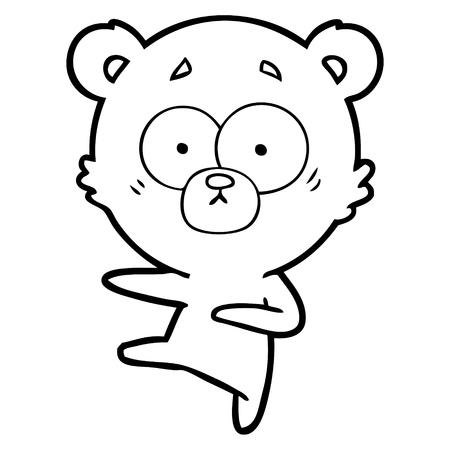 nervous dancing bear cartoon Vector illustration.