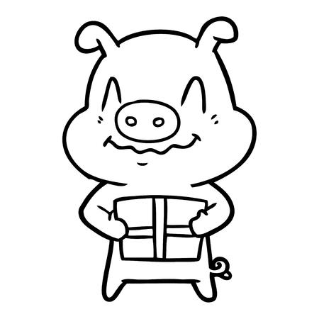 nervous cartoon pig with present Vector illustration.