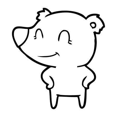 friendly bear with hands on hips Vector illustration. Illustration